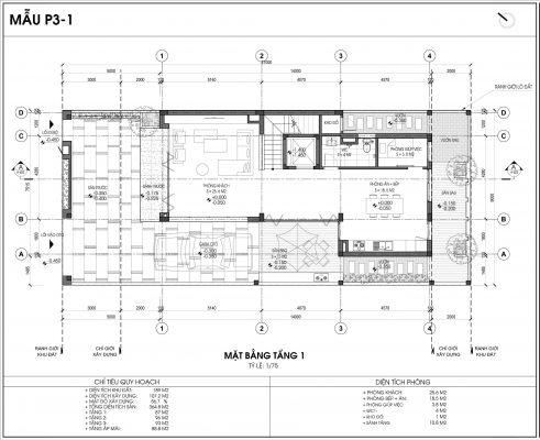 Mẫu biệt thự An Vượng số 1 diện tích 189m2 tầng 1