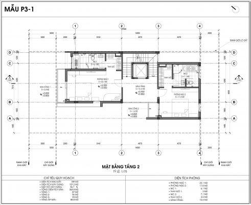 Mẫu biệt thự An Vượng số 1 diện tích 189m2 tầng 2