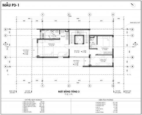 Mẫu biệt thự An Vượng số 1 diện tích 189m2 tầng 3