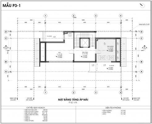 Mẫu biệt thự An Vượng số 1 diện tích 189m2 tầng 4