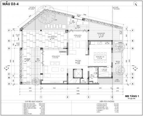 Thiết kế biệt thự An Vượng Villa mẫu D3-4 diện tích 258.36m2 tầng 1