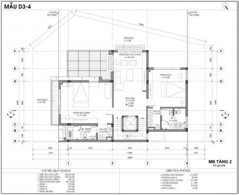 Thiết kế biệt thự An Vượng Villa mẫu D3-4 diện tích 258.36m2 tầng 2