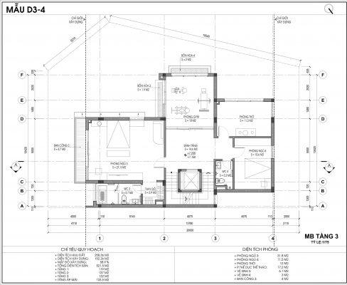 Thiết kế biệt thự An Vượng Villa mẫu D3-4 diện tích 258.36m2 tầng 3