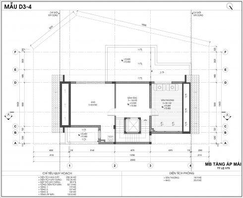 Thiết kế biệt thự An Vượng Villa mẫu D3-4 diện tích 258.36m2 tầng 4