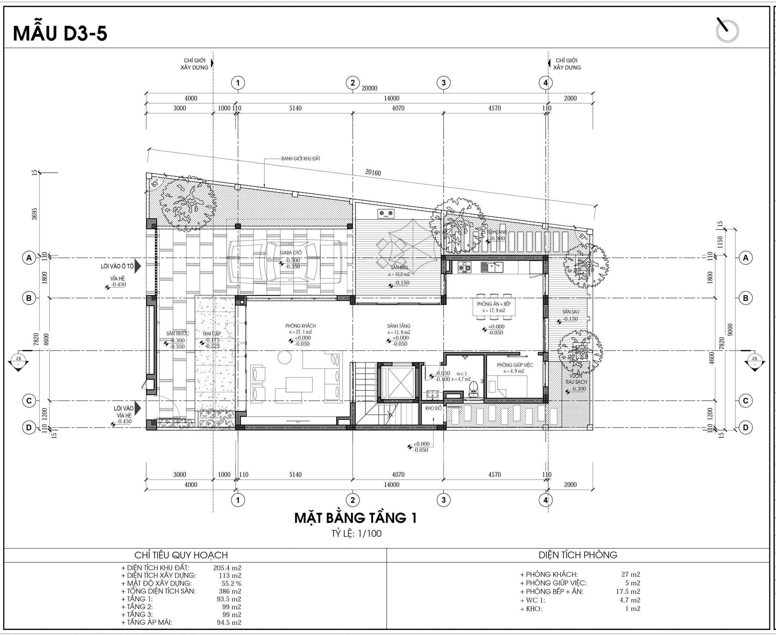 Thiết kế biệt thự An Vượng Villa mẫu D3-5 diện tích 205.4m2 tầng 1