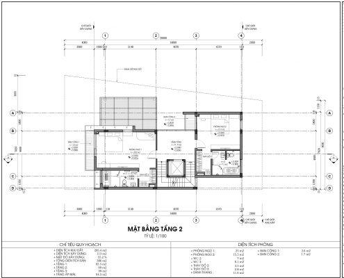 Thiết kế biệt thự An Vượng Villa mẫu D3-5 diện tích 205.4m2 tầng 2
