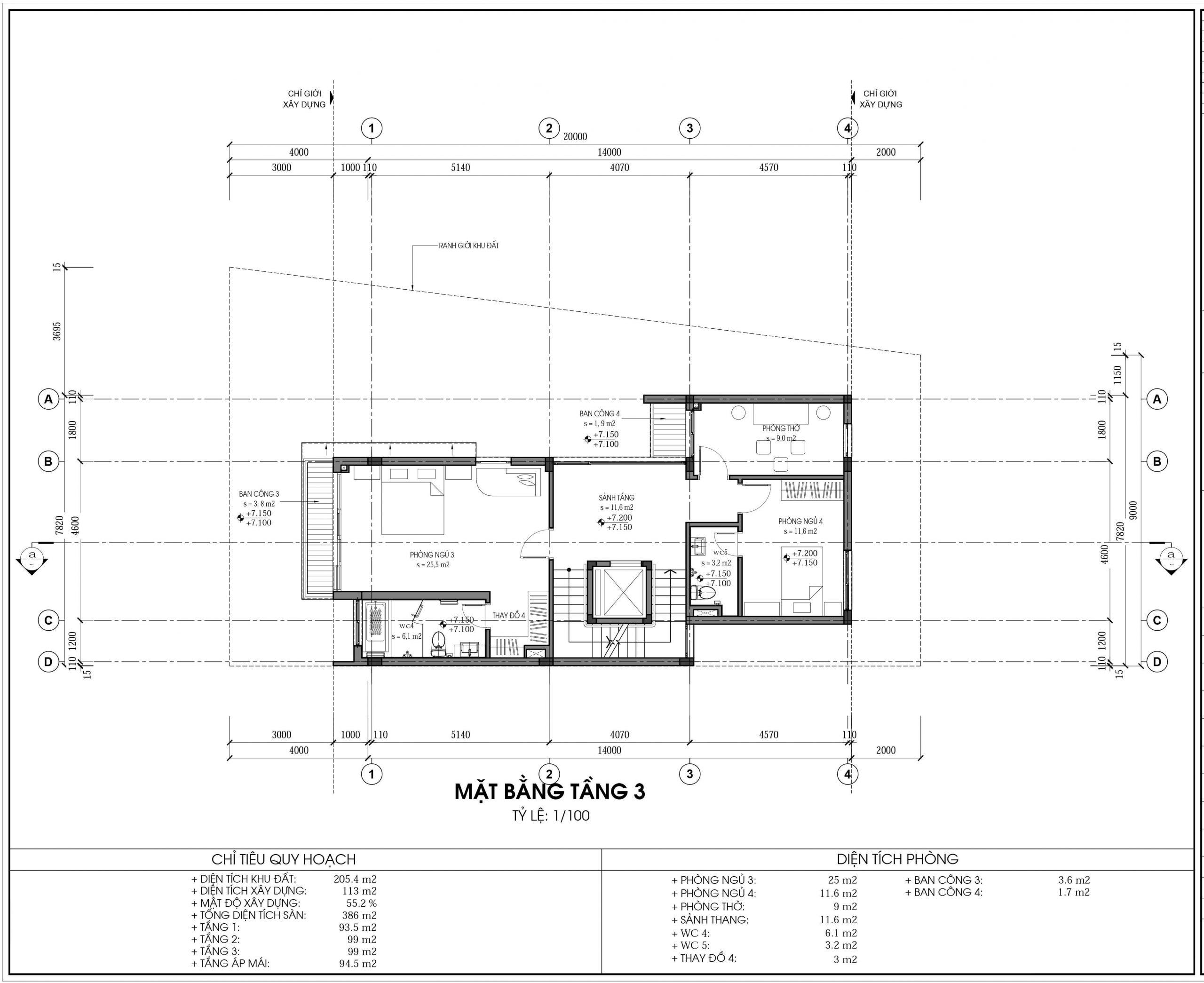 Thiết kế biệt thự An Vượng Villa mẫu D3-5 diện tích 205.4m2 tầng 3