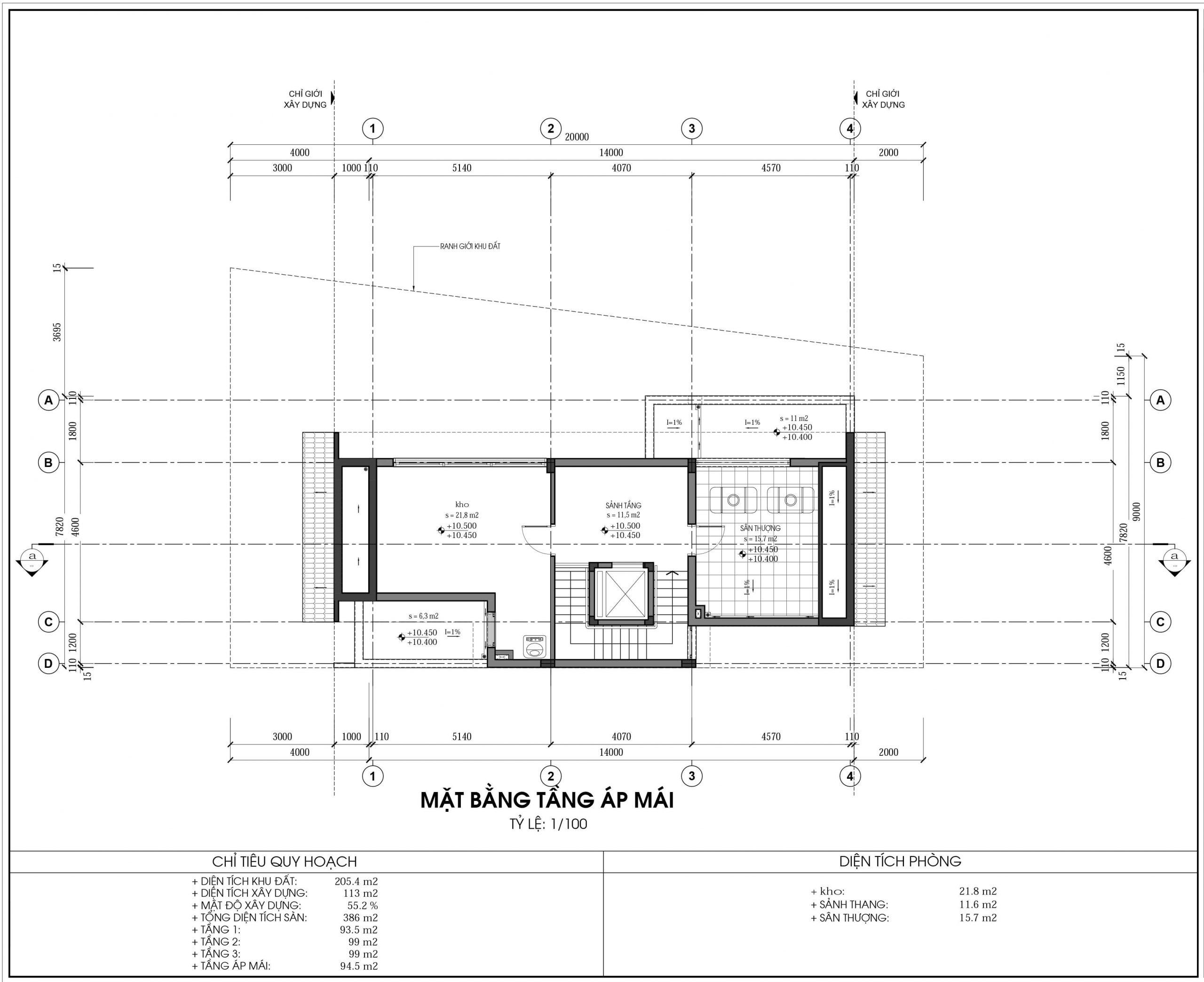 Thiết kế biệt thự An Vượng Villa mẫu D3-5 diện tích 205.4m2 tầng 4