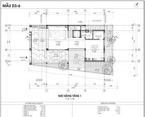 Thiết kế biệt thự An Vượng Villa mẫu D3-6 diện tích 215.4m2 tầng 1