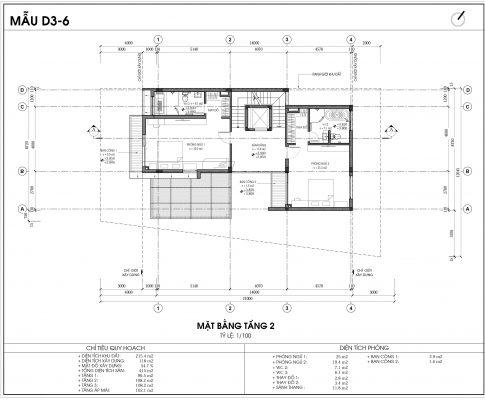 Thiết kế biệt thự An Vượng Villa mẫu D3-6 diện tích 215.4m2 tầng 2