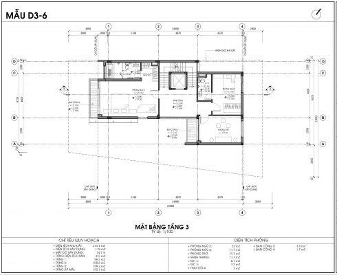 Thiết kế biệt thự An Vượng Villa mẫu D3-6 diện tích 215.4m2 tầng 3
