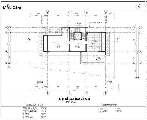 Thiết kế biệt thự An Vượng Villa mẫu D3-6 diện tích 215.4m2 tầng 4