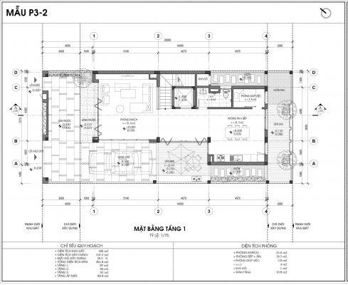Thiết kế biệt thự An Vượng Villa mẫu 2 diện tích 180m2 tầng 1