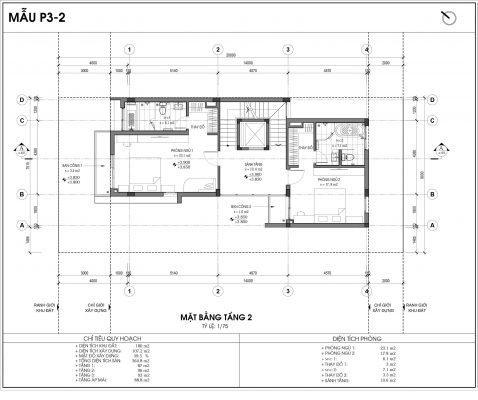 Thiết kế biệt thự An Vượng Villa mẫu 2 diện tích 180m2 tầng 2