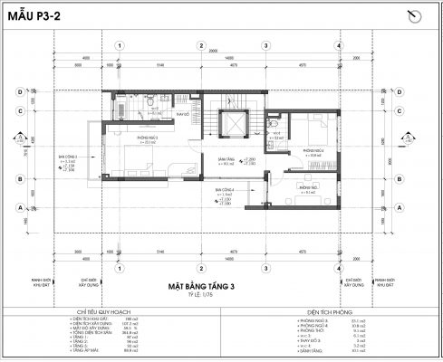 Thiết kế biệt thự An Vượng Villa mẫu 2 diện tích 180m2 tầng 3