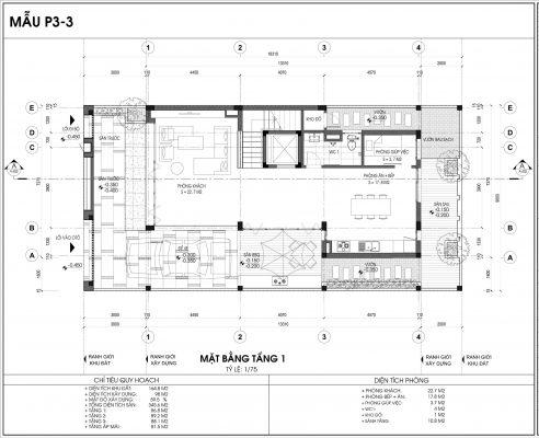 Thiết kế biệt thự An Vượng Villa mẫu 3 diện tích 164.8m2 tầng 1