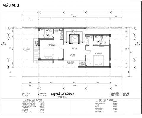 Thiết kế biệt thự An Vượng Villa mẫu 3 diện tích 164.8m2 tầng 2