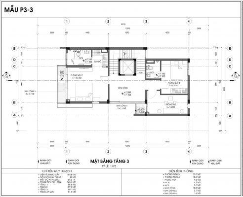 Thiết kế biệt thự An Vượng Villa mẫu 3 diện tích 164.8m2 tầng 3