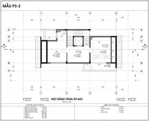 Thiết kế biệt thự An Vượng Villa mẫu 3 diện tích 164.8m2 tầng 4