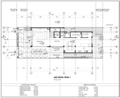 Mặt bằng thiết kế biệt thự An Vượng Villa Mẫu số 4 Diện tích 225m2 tầng 1
