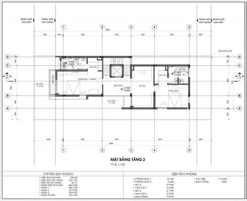 Mặt bằng thiết kế biệt thự An Vượng Villa Mẫu số 4 Diện tích 225m2 tầng 2