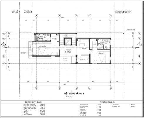 Mặt bằng thiết kế biệt thự An Vượng Villa Mẫu số 4 Diện tích 225m2 tầng 3