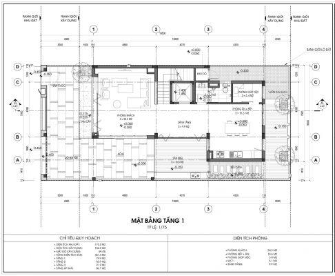 Thiết kế biệt thự An Vượng Villa mẫu 5 diện tích 175.5m2 tầng 1