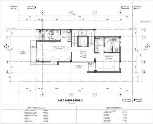Thiết kế biệt thự An Vượng Villa mẫu 5 diện tích 175.5m2 tầng 2