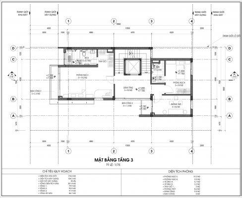 Thiết kế biệt thự An Vượng Villa mẫu 5 diện tích 175.5m2 tầng 3