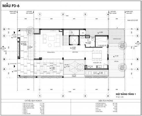 Thiết kế biệt thự An Vượng Villa mẫu 6 diện tích 177.7m2 tầng 1