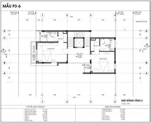 Thiết kế biệt thự An Vượng Villa mẫu 6 diện tích 177.7m2 tầng 2