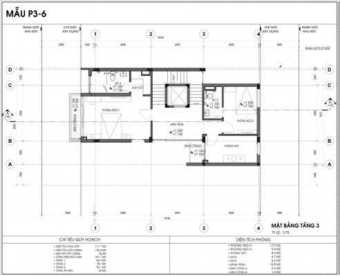 Thiết kế biệt thự An Vượng Villa mẫu 6 diện tích 177.7m2 tầng 3