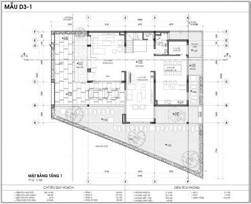 Thiết kế biệt thự An Vượng Villa mẫu D3-1 diện tích 339.15m2 tầng 1