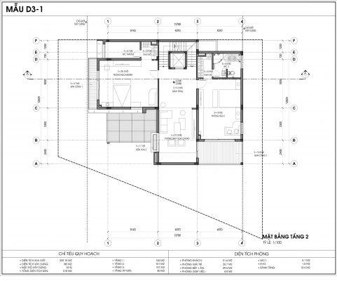 Thiết kế biệt thự An Vượng Villa mẫu D3-1 diện tích 339.15m2 tầng 2