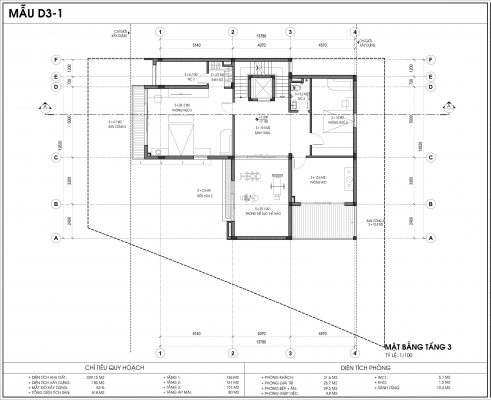 Thiết kế biệt thự An Vượng Villa mẫu D3-1 diện tích 339.15m2 tầng 3