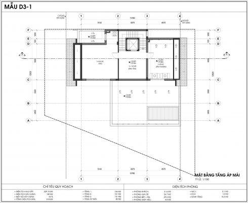 Thiết kế biệt thự An Vượng Villa mẫu D3-1 diện tích 339.15m2 tầng 4