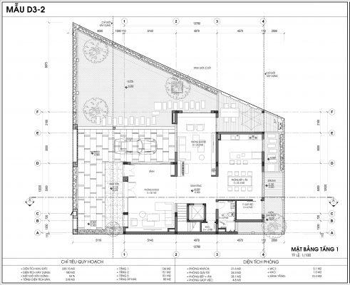Thiết kế biệt thự An Vượng Villa mẫu D3-2 diện tích 339.15m2 tầng 1