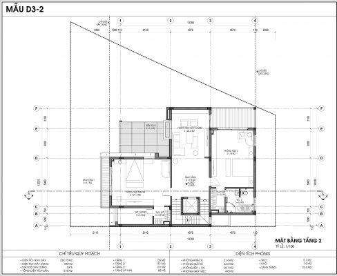 Thiết kế biệt thự An Vượng Villa mẫu D3-2 diện tích 339.15m2 tầng 2