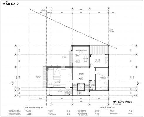 Thiết kế biệt thự An Vượng Villa mẫu D3-2 diện tích 339.15m2 tầng 3
