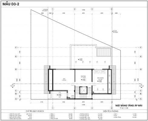 Thiết kế biệt thự An Vượng Villa mẫu D3-2 diện tích 339.15m2 tầng 4