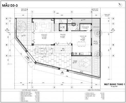 Thiết kế biệt thự An Vượng Villa mẫu D3-3 diện tích 226.4m2 tầng 1
