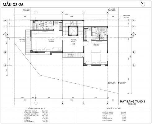 Thiết kế biệt thự An Vượng Villa mẫu D3-3 diện tích 226.4m2 tầng 2