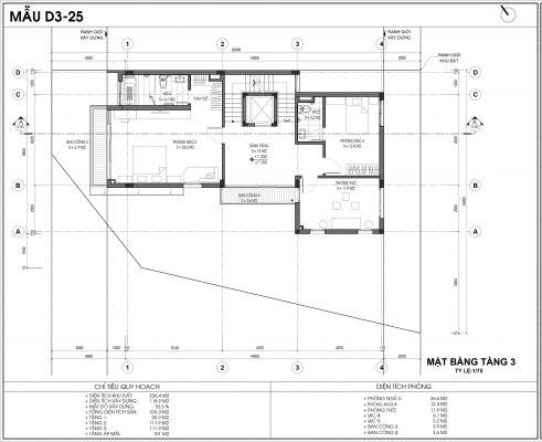 Thiết kế biệt thự An Vượng Villa mẫu D3-3 diện tích 226.4m2 tầng 3