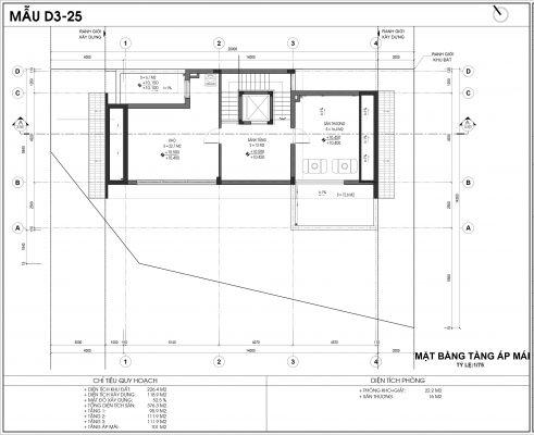 Thiết kế biệt thự An Vượng Villa mẫu D3-3 diện tích 226.4m2 tầng 4